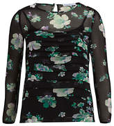 Gina Bacconi Floral Chiffon Pleated Top, Black/Green