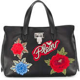 Philipp Plein floral appliqué tote bag