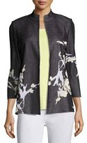 Misook Floral-Print Knit Jacket, Petite