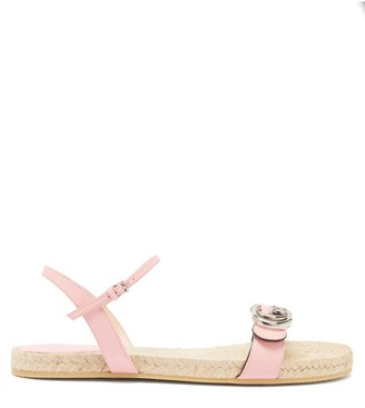 Gucci Aitana Leather And Jute Sandals - Light Pink