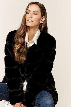 Gini London Black Diagonal Cut Faux Fur Long Sleeve Jacket