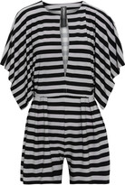 Thumbnail for your product : Norma Kamali Pleated Striped Stretch-jersey Playsuit