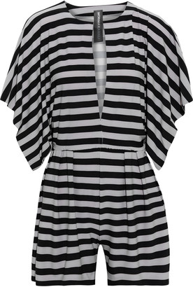 Norma Kamali Pleated Striped Stretch-jersey Playsuit