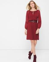 White House Black Market Sheer-Sleeve Boho Chiffon Dress