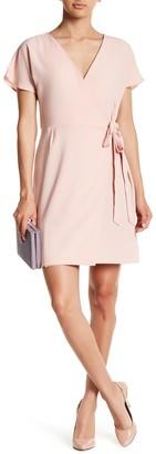 Bobeau Short Sleeve Crepe Wrap Dress