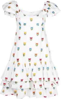 Carolina Herrera embroidered flowers ruffled dress