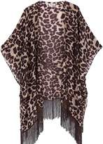 soul young Women's Floral Aztec Leopard Light Chiffon Beachwear Cover up Kimono Cardigan Outfit(,Peach)
