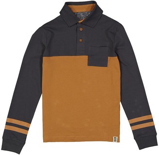 Aeropostale p.s. from Boys' Polo Shirts DKGRY - Dark Gray & Brown Stripe Pocket Polo Pullover - Boys