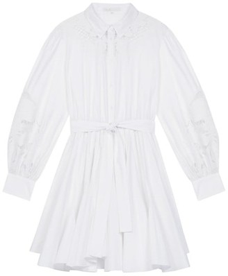 Maje Rebello Lace Inset Cotton Shirt Dress