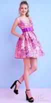 Mac Duggal Low Back Bow Waist Floral Print Cocktail Dress
