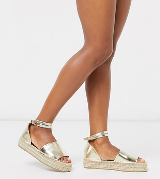 South Beach Exclusive flatform espadrilles in gold metallic