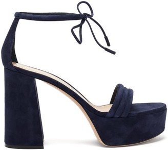 Gianvito Rossi Ankle-tie Suede Platform Sandals - Navy