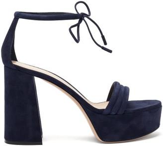 Gianvito Rossi Ankle-tie Suede Platform Sandals - Womens - Navy