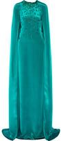 Oscar de la Renta Cape-effect Embellished Silk-satin Gown - Teal