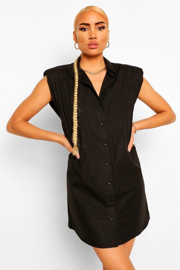 boohoo Shoulder Pad Shirt Dress