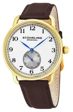 Stuhrling Original Stainless Steel Gold Tone Case on Brown Genuine Leather Strap, Silver Dial, With Black and Blue Accents