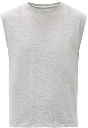 Frame Le Mid Rise Muscle Cotton Tank Top - Womens - Light Grey