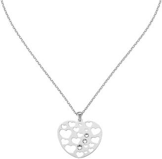 """Italian Silver Heart Shape Openwork Pendant w/18"""" Chain"""
