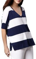 Minnie Rose WOMENS STRIPED COTTON TOP