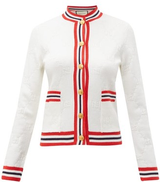 Gucci GG Logo-jacquard Wool-blend Cardigan - Womens - Ivory Multi
