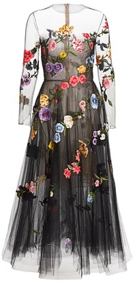 Oscar de la Renta Garden Fantasy Sheer Cocktail Dress