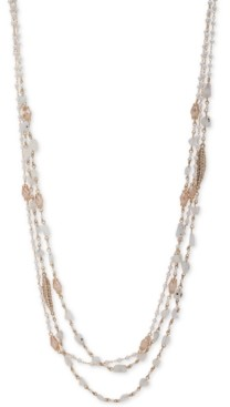 """lonna & lilly Gold-Tone Crystal & Imitation Pearl Beaded 36"""" Multi-Row Necklace"""