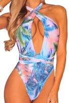 ESONLAR Woman's Print Strappy Multi Wear Bandage One Piece Swimsuit M