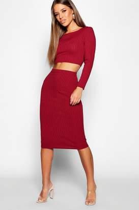 boohoo Petite Rib Long Sleeve Midi Skirt Co-Ord