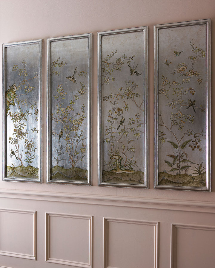 Horchow Four Silver Bird Panels