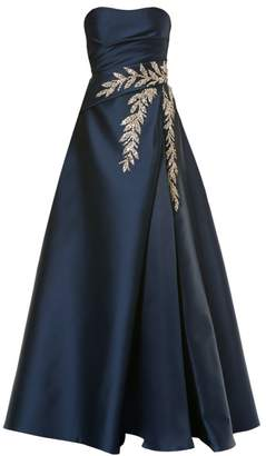 Carolina Herrera Strapless Embellished Silk Ball Gown
