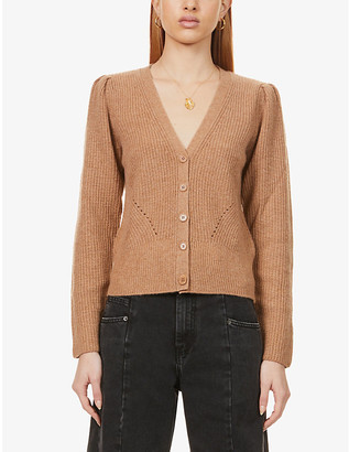 Reformation Fossi puff-sleeved recycled-cashmere cardigan