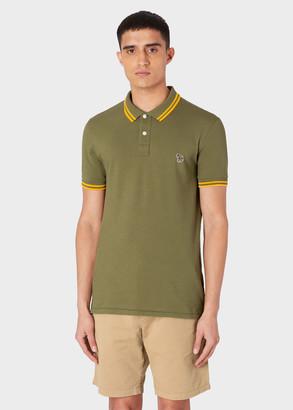 Paul Smith Men's Slim-Fit Khaki Zebra Logo Supima Cotton Polo Shirt With Mustard Tipping