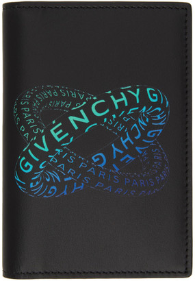 Givenchy Black and Blue Graphic Logo Card Holder