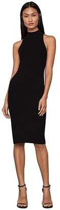 BCBGMAXAZRIA High Neck Knit Dress (Black) Women's Clothing