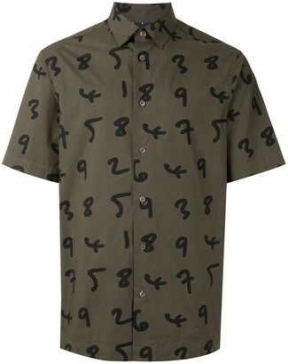 Paul Smith Numbers Print Buttoned Cotton Shirt