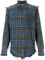 R 13 distressed plaid shirt