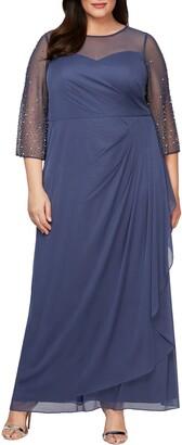 Alex Evenings Beaded Sleeve A-Line Gown