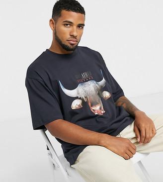 Reclaimed Vintage inspired t-shirt with front bull print in black