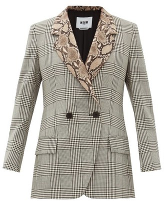 MSGM Double-breasted Snake-collar Wool Blazer - Womens - Black White