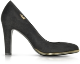 Loriblu Black Suede Pump w/Gold Tone Decorative Zip