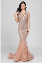 Terani Couture 1721GL4447 Sleek Ostrich Feather Mermaid Dress