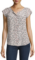 Joie Iva Printed Cap-Sleeve Silk Top, Soft Sand