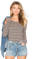 Monrow Stripe Cut Out Top in Pink. - size M (also in S)