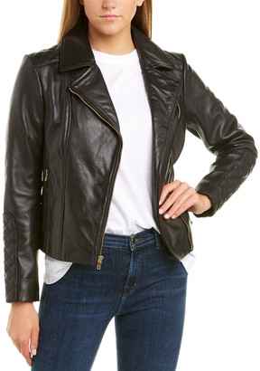 Cole Haan Diamond Quilted Leather Moto Jacket