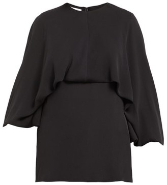 Valentino Draped Silk-georgette Blouse - Black