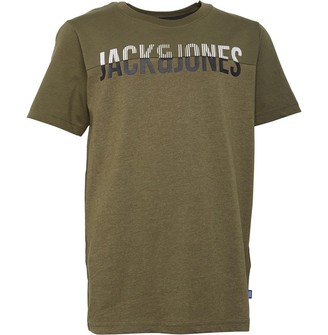 Jack and Jones Boys Junior Jconewstally T-Shirt Short Sleeve Crew Neck Olive Night