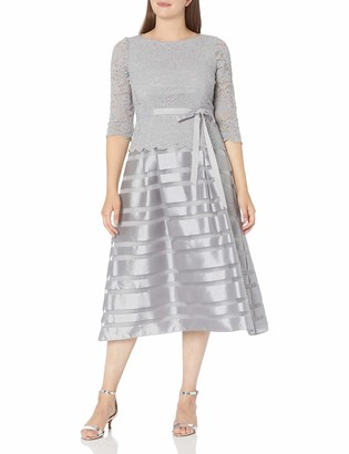 Alex Evenings Women's T-Length A-Line Mock Dress with 3/4 Sleeves and Tie Belt