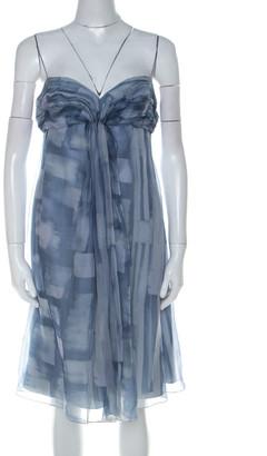 Armani Collezioni Blue Printed Silk Organza Ruched Bust Babydoll Dress M