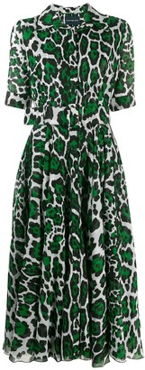 Samantha Sung Leopard Print Shirt Dress