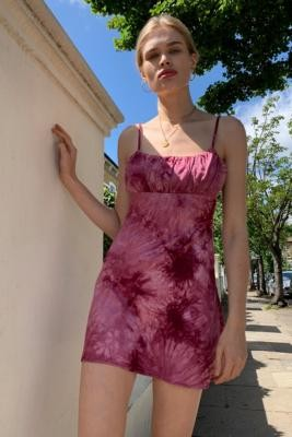 Urban Renewal Vintage Urban Outfitters Archive Burgundy Tie-Dye Mini Slip Dress - Red XS at Urban Outfitters